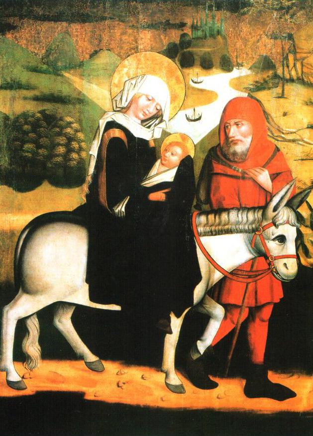 Kislengyelországi festő A Szent család Egyiptomban (Dominikánus oltárszárnyrész) 1460 körül Nemzeti Múzeum, Krakkó